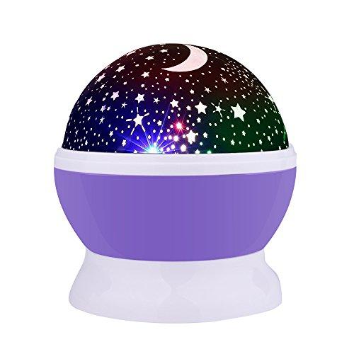 Lámpara de Noche,Sunvito Romántica Rotación de Estrellas Luna Cielo Proyector a Bebés Niños Dormitorios(4 Gotas Brillantes LED 3 Modelo de Luz Cargadas por Patería de DC5V/AAA y USB Cable) (Púrpura)