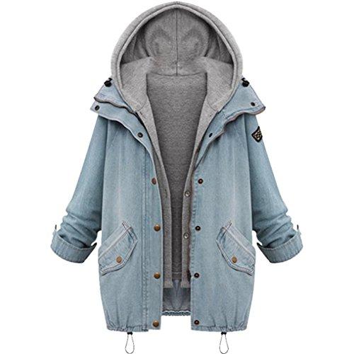 Xinan Damen Jeansjacke Denim Winterjacke Freizeit Oberteil Strickjacke Jäckchen Tops Mäntel Outwear (XXL, Blau)