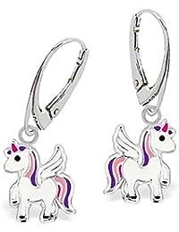 G-H Kleine Pegasus Einhorn Brisur Ohrringe 925 Echt Silber Kinder Mädchen Pferd Ohrhänger