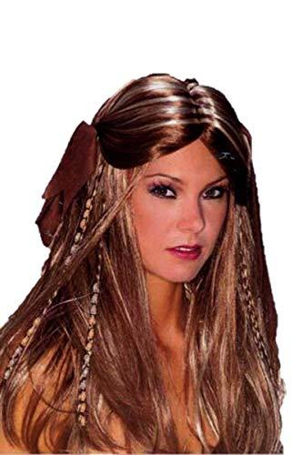 Qubeat Parrucche Donne lungo marrone/biondo Con trecce Carnevale Carnevale Halloween Medioevo con gioielli capelli