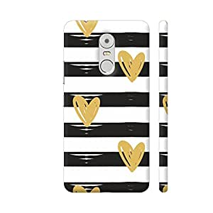 Colorpur Lenovo K6 Note Cover - Golden Hearts On Black Lines Printed Back Case