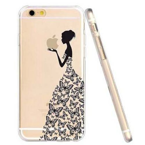 JIAXIUFEN TPU Gel Silicone Protettivo Skin Custodia Protettiva Shell Case Cover Per Apple iPhone 6 6S (normale 4.7 pollici Schermo) - Henna Series Apple Butterfly Girl