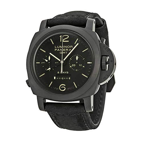 PANERAI MEN'S LUMINOR 1950 44MM BLACK LEATHER BAND AUTOMATIC WATCH PAM00317