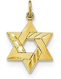 Lex & Lu - Colgante de plata de ley con forma de estrella judía grabada en