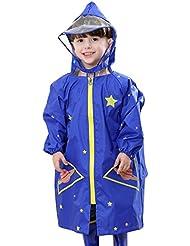 Feoya - Unisexe Enfant Fille Garçon Poncho de Pluie Capuche avec Visière Veste Anti-pluie Imperméable 2-10ans Bleu Jaune Rose