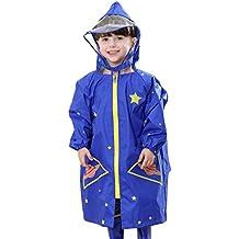FEOYA Traje de Lluvia para Niños con Capucha contra Viento Manga larga Chabasquero Abrigo Impermeable -