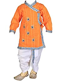 FOCIL Orange Peacock Feather Embroidery Dhoti Kurta Pant Set For Kids