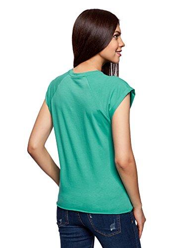 oodji Ultra Damen Baumwoll-T-Shirt mit Schriftzug Grün (6D91P)