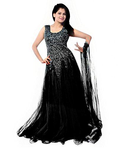 Janasya Women's Net Semi-Stitched Dress Material (JNE-DR-0900-BLACK.A_Black_Free Size)