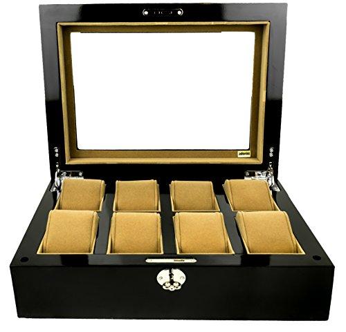 adorini Uhrenbox Deluxe - Vitrine für 8 Uhren, Manschettenknöpfe , Schmuck - Hohe Qualität - Lebenslange Garantie - aus Glas, mit Schloss, XXL Fach