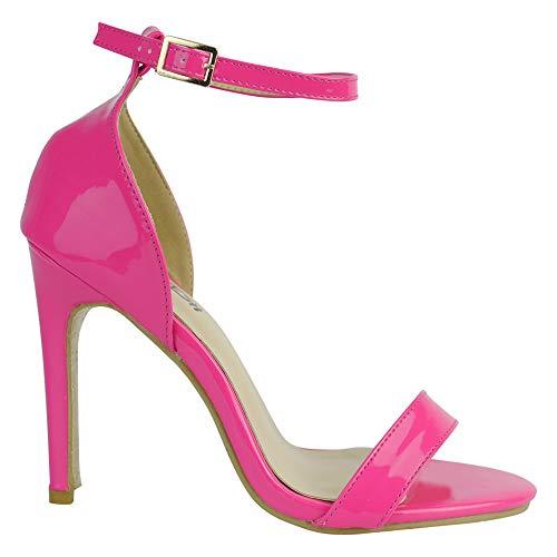 BeMeesh Damen Damen Stiletto High Heel Knöchelriemen Sandalen Pumps Peep Toe Schuhe Pink Stiletto