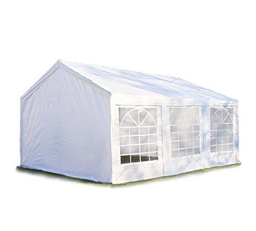 Hochwertiges Partyzelt 3x6 6x3 m Pavillon Zelt 240g/m² PE Plane Gartenzelt Festzelt Bierzelt ! Stahlkonstruktion ! Wasserdicht! Inkl. Seitenteile + Giebelteile ! weiß