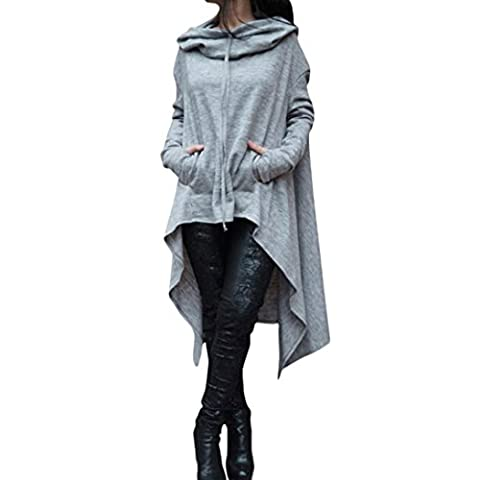 DIKEWANG Over Size Women Autumn Winter Long Sleeve Loose Asymmetric Hem Hoodie Long Hooded Tops Ladies Sweatshirt Sweater Dress Tunic Blouse(Plus Size:S-L5) (XXXXXL, Grey)