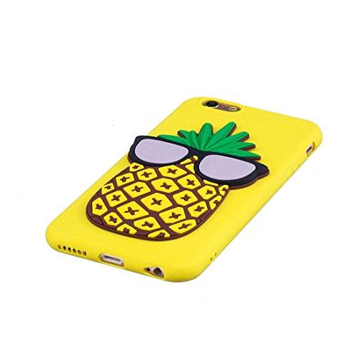 iPhone 6S Plus Custodia, case Paraurti dassorbimento con TPU Back-Anti-Scratch Cover ( 3D Cartoon orso bear + rosa ) iPhone 6 Plus /6s Plus Copertura Shell 5.5 giallo