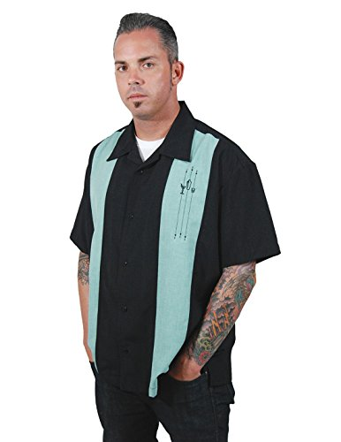 Rock Steady Clothing The Shake Down Button up 50er Retro Panel Rockabilly Lounge Casino Hemd, Größe:L, Farbe:Schwarz (Button-up-shirt Panel)