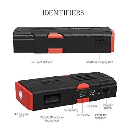 410hOpssDdL. SS416  - Beatit D11 800 A pico 18000 mAh 12 V arrancador de coche portátil (hasta 7,5 L de gas o 5,5 L diésel) con Smart Jumper Cables Auto batería Booster Power Pack