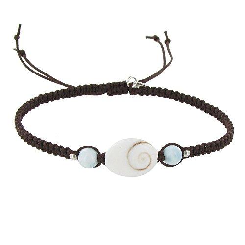 Schmuck Les Poulettes - Armband Geflochten Link St. Lucia Augen und Larimar Perlen - Dunkelbraune