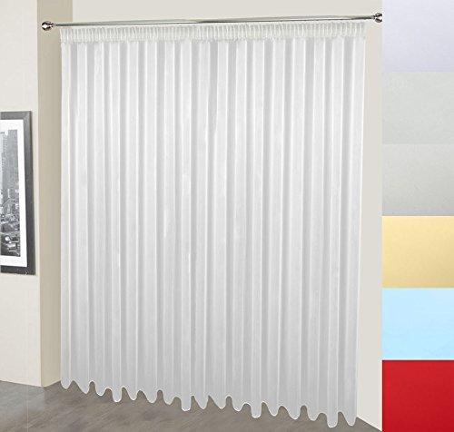 Voile Gardine nach Maß, Store, Webstore, halbtransparent, Farben: rot, blau, light beige, light grey, natur oder weiß, Kräuselband, Vorhang nach Maß, Gardinen nach Maß (Weiß, 235 x 250 cm /HxB)