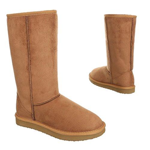 Ital-Design, infrarouge 500, Boots chaud doublée stiefelettten Marron - Camel 3