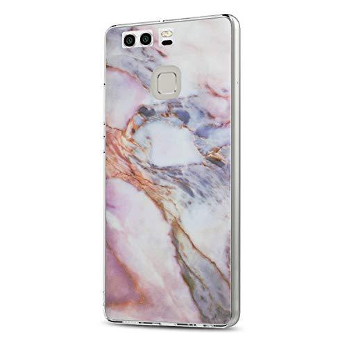 14chvier Kompatibel mit Huawei P9 Hülle, Silicone Schutzhülle Handyhülle Soft Marmor Cover Rückschale Blume Flüssigkristall Schutz Shockproof Handytasche für Huawei P9 - Ultra dünn (4)