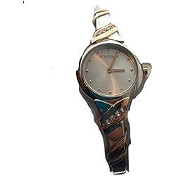 Fontenay Sammler Artikel Damen Zwei/Tone 18kt vergoldet Stein Analog Quarz Armreif Armbanduhr