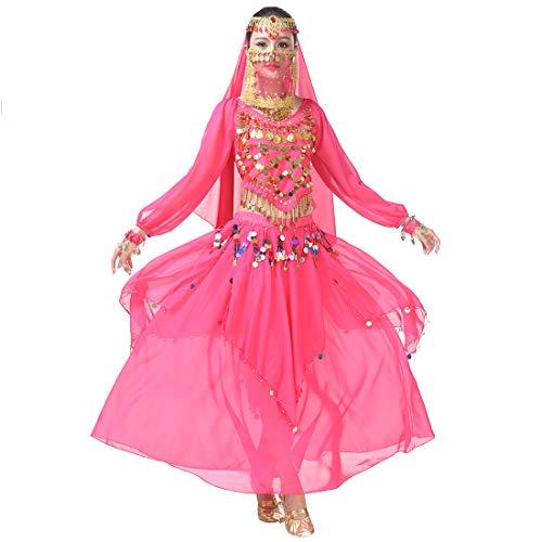 Kostüm Lyrischen Tanzkleider - Magogo Bauchtanz-Kostüm-Karnevalsparty-Abendkleid-Set, professionelles Leistungs-Outfit (Rose-rot(8-stück Kit))