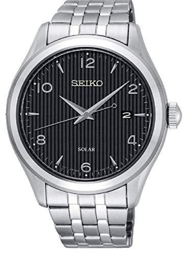 Seiko Herren Analog Solar Uhr mit massives Edelstahl Armband SNE489P1 (Seiko Solar Herren-uhr)