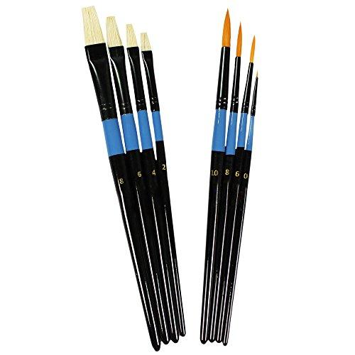 COM-FOUR® 8-teiliges Künstlerpinsel Set - Borstenpinsel & Haarpinsel