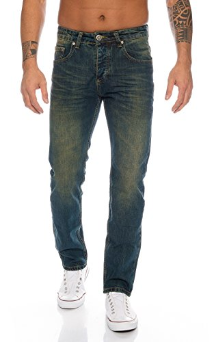 Lorenzo Loren Herren Jeans Hose Denim Jeans Used-Look Regular-Fit [LL387 - DirtyWash - W40 L34]