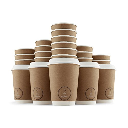 Disposable Paper Coffee Cups with Lids (12oz, 350ml, Pack of 50) Hot/Cold, Tea & Chocolate Drinks   Double-Wall Insulated   Heavy-Duty, Leak Resistant Drinkware   Office/Party Pack - to go Coffee Cups