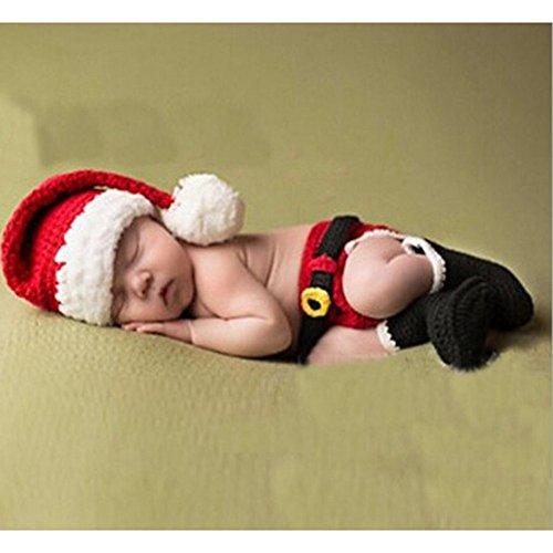 Baby Newborn Kostüm Cute - DAYAN Cute Christmas Art-Baby-Kleinkind Newborn handgemachte Häkelarbeit Beanie Hat Kleidung Weihnachtsmann-Kostüm für Baby (6-12Months)