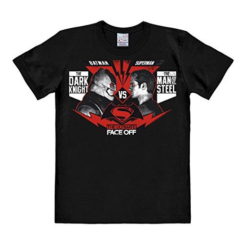 Logoshirt DC Comics - Batman v Superman - The Ultimate Face-Off T-Shirt Herren - Schwarz - Lizenziertes Originaldesign, Größe 3XL