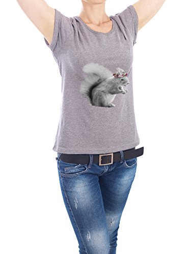 "Design T-Shirt Frauen Earth Positive ""Dressy Squirrel"" - stylisches Shirt Tiere Floral von Julia Bruch Grau"