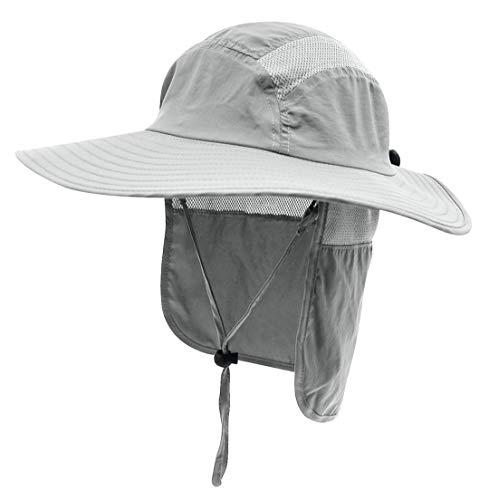 HAIRJDSR Herren Damen Sommer UPF 50+ Sonnenschutz Cap Wide Brim Fishing Hat mit Neck Flap Light Grey Flex Neck Light