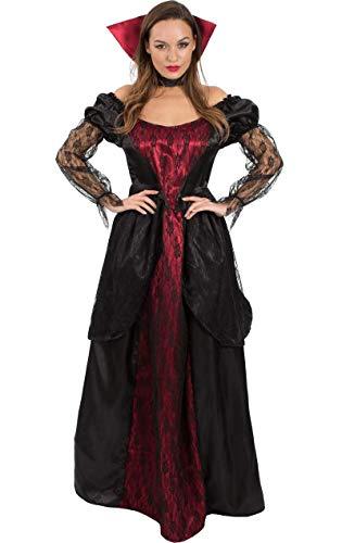 Gothic Scary Kostüm - Meine Damen Vampiress Viktorianischen Vampir Lang Halloween Kostüm Large