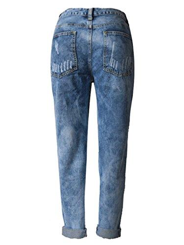 Choies Damen Jeans Hosen Denim Baggyjeans Boyfriend Cut-Outs Jeanshose mit  Löcher und Zerreißen Jeans ... 8b6820d5b6