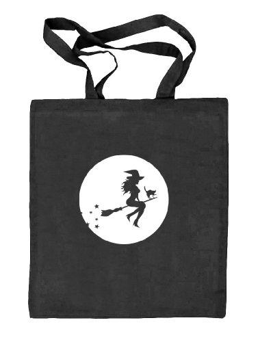 Shirtstreet24, Halloween - Hexe, Kostüm Stoffbeutel Jute Tasche, Größe: onesize,schwarz (Hexe Natur Kostüm)