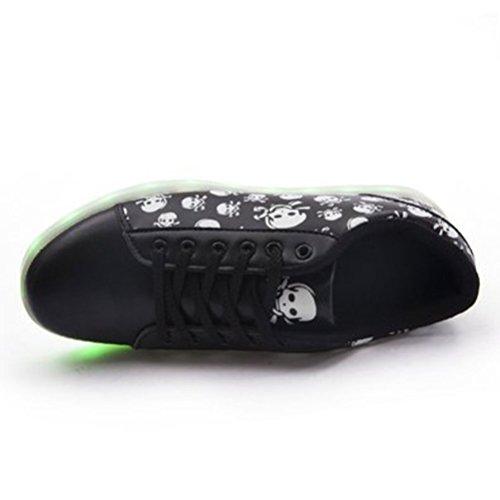 [Present:kleines Handtuch]JUNGLEST® Schwarz 7 Farbe Unisex LED-Beleuchtung Blink USB-Lade Turnschuh-Schuhe Schwarz