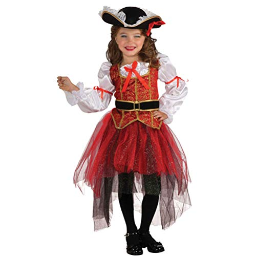 Fenical Kinder Piraten Cosplay Kostüm Set (Hut Kleidung Rock Gürtel) Outfit für Mädchen Halloween Party Performance