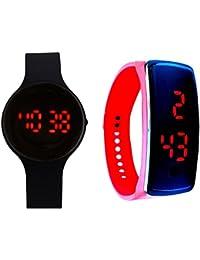 Lemonade - Pack Of 2 - Black & Red Color Unisex Silicone Digital LED Bracelet Band Wrist Watch For Kids, Boys,...