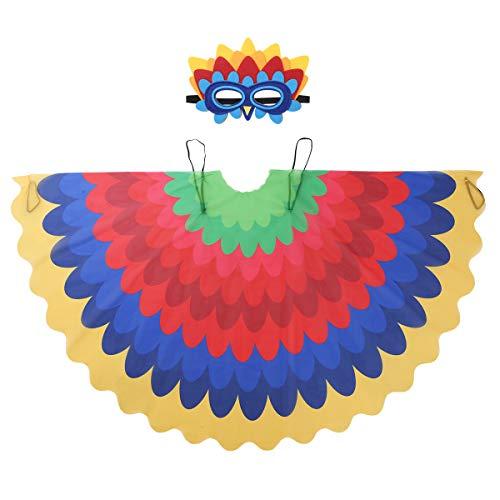 Kostüm Vogel Junge - Agoky Kinder Jungen Mädchen Vogel Flügel Kostüm Outfit Pfau Schwanz Umhang Cape mit Augenmaske Verkleiden Set für Maskerade Halloween Cosplay Mehrfabig E Einheitgröße