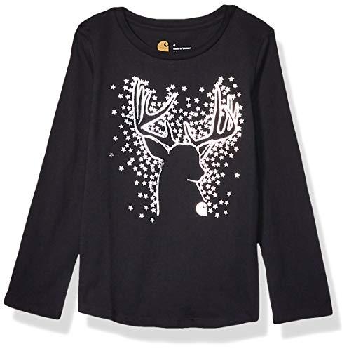 Carhartt Mädchen Long Sleeve Graphic Tee T-Shirt, Hirsch (Kaviar Black), X-Small