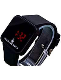 Negro Unisex pantalla táctil LED Digital reloj de pulsera de silicona para niños