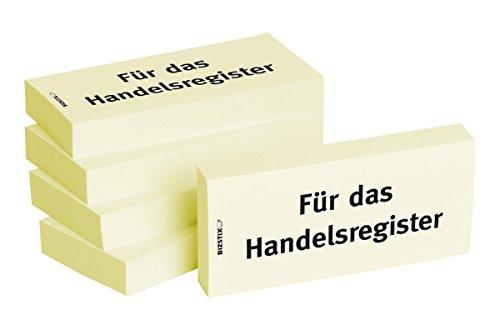 """BIZSTIX® Business Haftnotizen""""Für das Handelsregister"""" - 1 Packung mit 5 Haftnotizblöcken zu je 100 Blatt, 75 x 35 mm"""