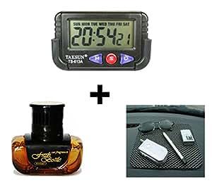 Speedwav 3 in 1 Car Dashboard Combo of Digital Clock , Anti-slip Dashboard Mat and Fresh Bottle Amber Perfume