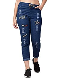 Natural Creation Women's Denim Jogger Pants Jeans (Dear Youth, Blue, Free Size)