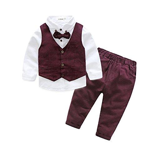 (Fanryn 3-teiliges Boykleidungs-Set Babyanzug Jungen Kleider Coat Kleidung kariertes Hemd spielanzug + Weste + Hose Bekleidungsset Kleidung Gentleman Anzug mit Ärmeln Herbst Kleidung des)