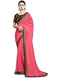 Saree Center Georgette Saree with Blouse Piece (Map-Akshra_Pink_One Size)