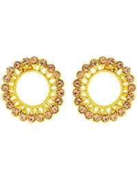 Voylla Gold Plated Stud Earrings Studded With Gems