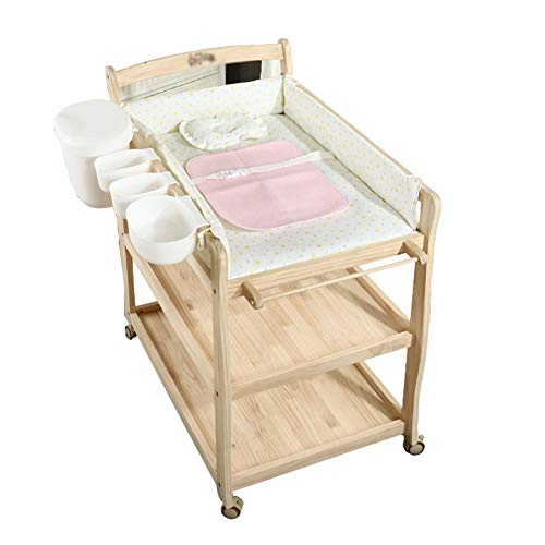Table à Langer Poste De avec Boîte De Rangement pour Bébé, sur Roues pour Bébé (Bois Naturel)